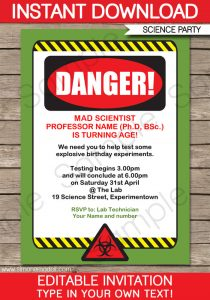 halloween party invites templates printable mad science invitation