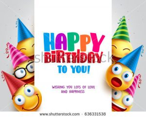 happy birthday banner template stock vector happy birthday vector design with smileys wearing birthday hat in white empty space for message and