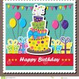 happy birthday card template scrapbook elements vector illustration birthday card topsy turvey cake