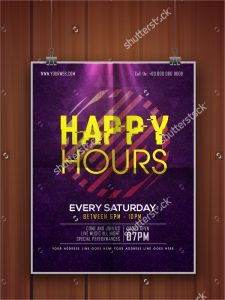 happy hour flyer shiny glossy elegant happy hours flyer