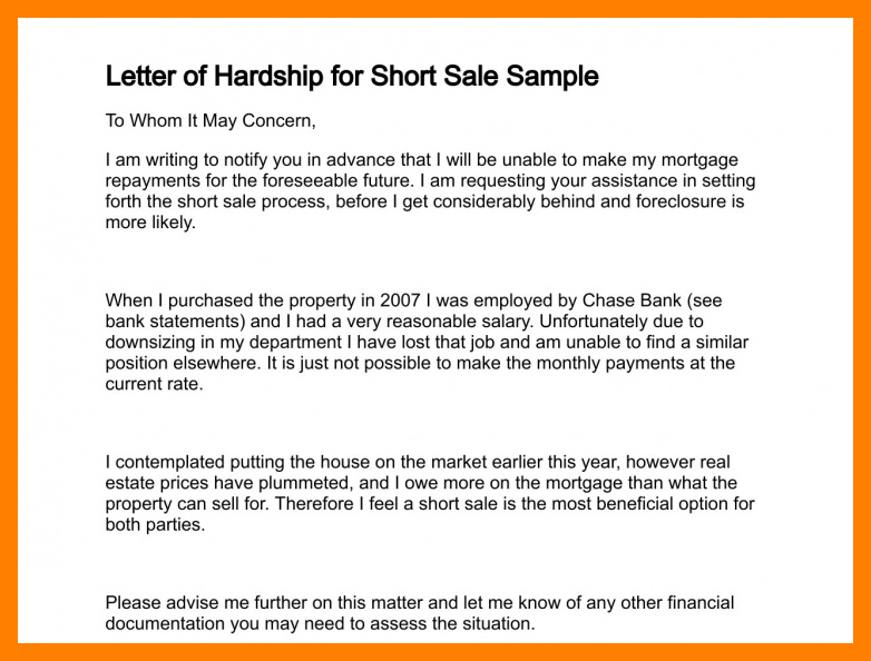 example of financial hardship letter