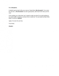 hardship letter template condolence email