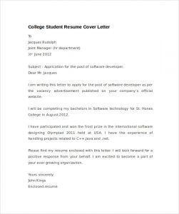 hardship letter template student resume cover letter example