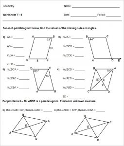 high school geometry parallelogram high school worksheet template