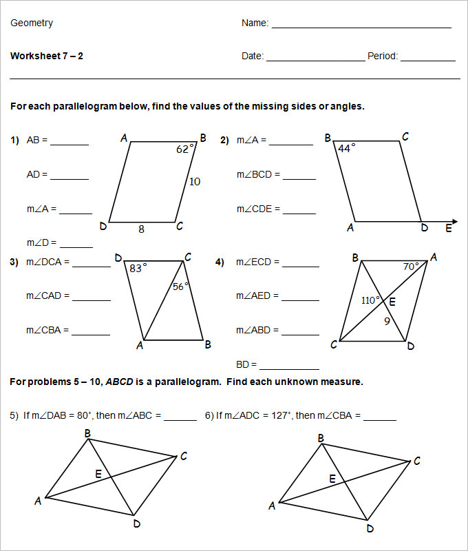 high school geometry worksheets