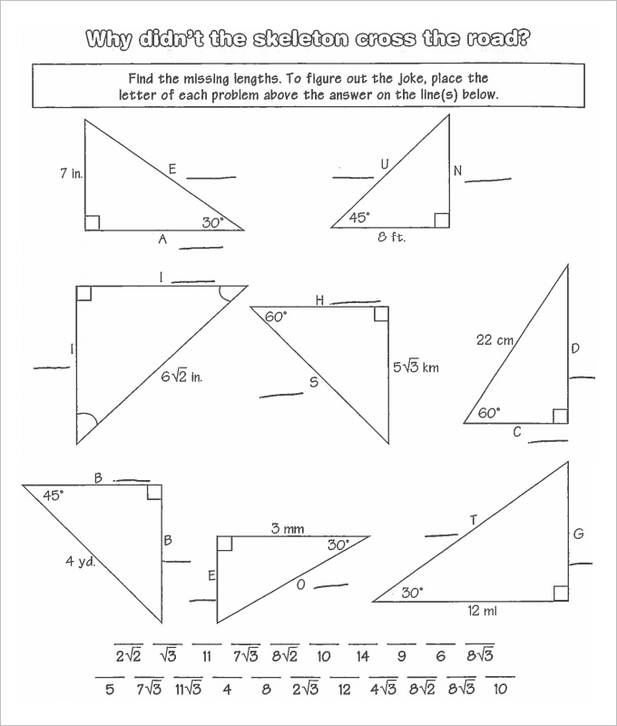 Fun math worksheets for high school geometry
