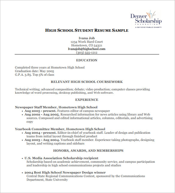high school resume template - High School Student Resume Templates