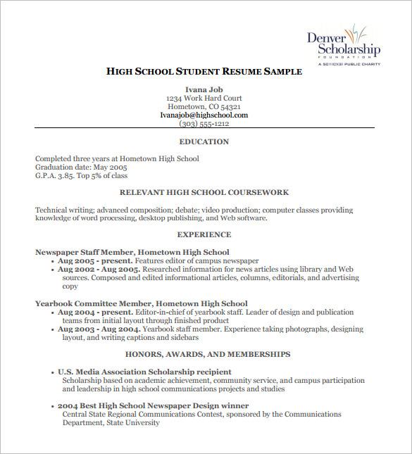 high school resumes