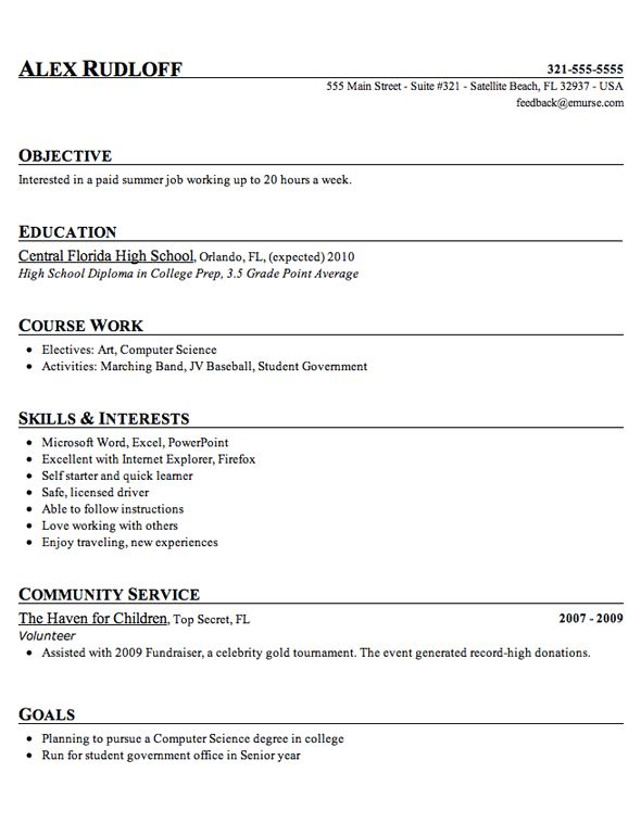 High School Student Resume Template  Computer Science Student Resume