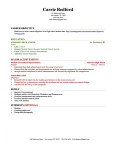 high schooler resume high school resume education