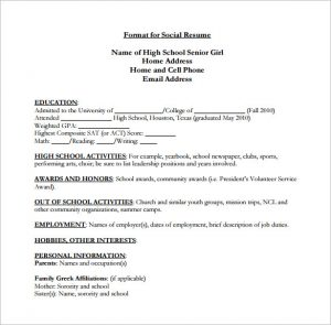 high schooler resume high school senior resume pdf free download