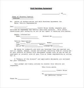 hold harmless agreement form blank hold harmless agreement