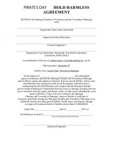 hold harmless agreement form hold harmless agreement template