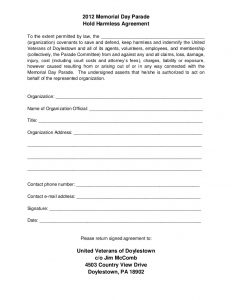 hold harmless agreement form slide