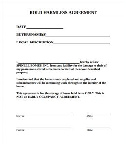 hold harmless agreement sample free hold harmless agreement pdf