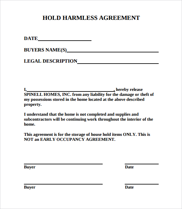 Hold Harmless Agreement Template | Hold Harmless Agreement Sample Template Business