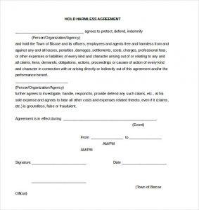 hold harmless agreement sample hold harmless agreement document template