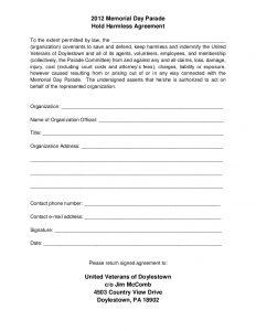 hold harmless agreement template hold harmless agreement
