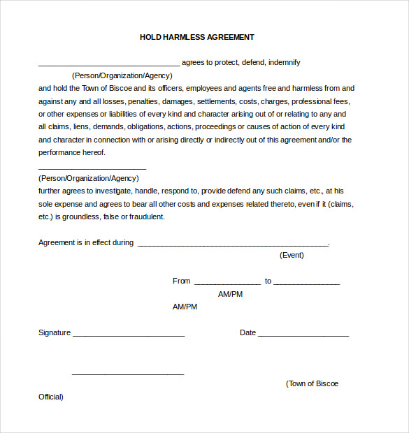 Hold harmless form template business hold harmless form platinumwayz