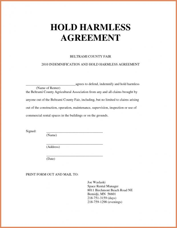 Hold Harmless Form  Template Business