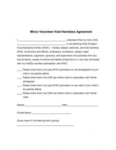 hold harmless form hold harmless agreement template