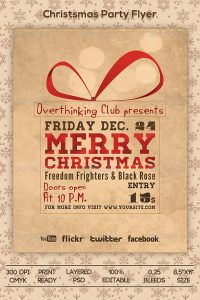 holiday party flyer christmas holiday event flyer template xmas retro vintage grunge typography
