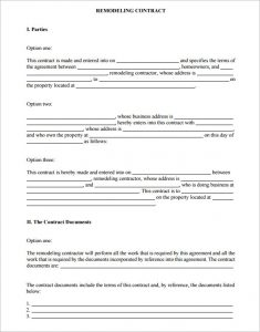 home improvement contract sample home improvement contract template