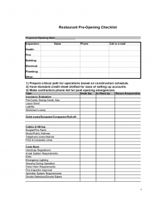 home purchase contract restaurant pre opening checklist d