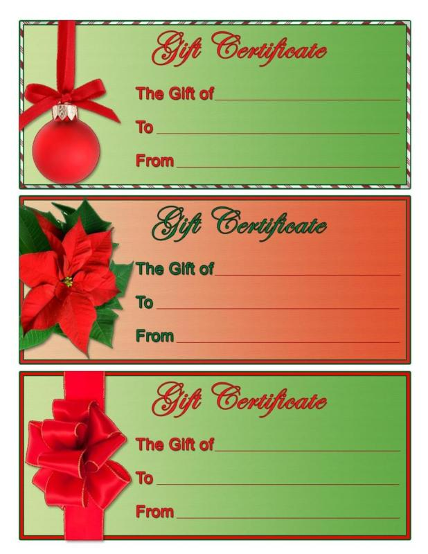 Homemade gift certificate template business for Homemade christmas gift certificates templates