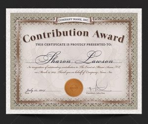 honor roll certificate contribution award certificate template