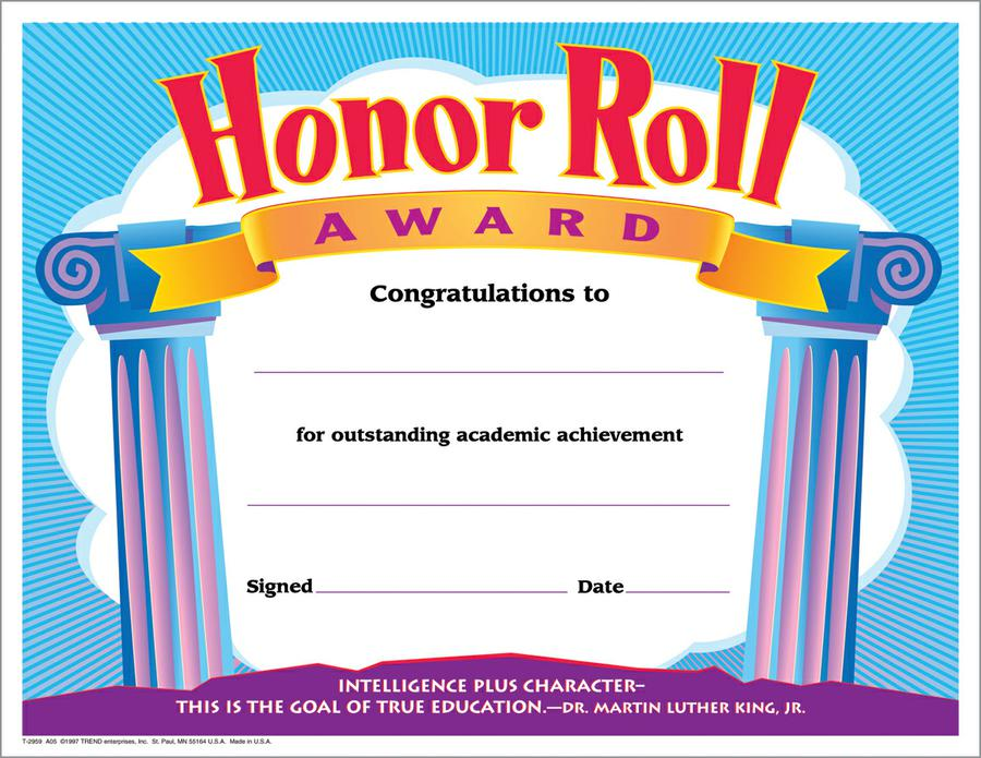 honor roll certificate