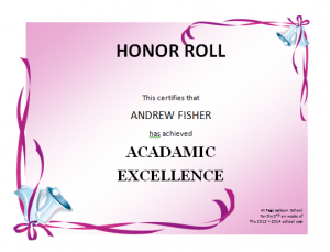 honor roll certificates honor roll certificate template
