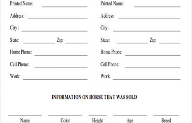 horse bill of sale blank horse bill of sale