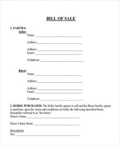 horse bill of sale horse bill of sale with payments