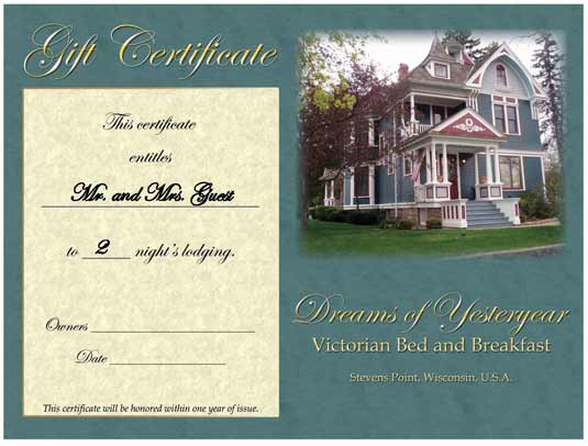 hotel gift certificates
