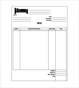 hotel receipt template sample hotel invoice template