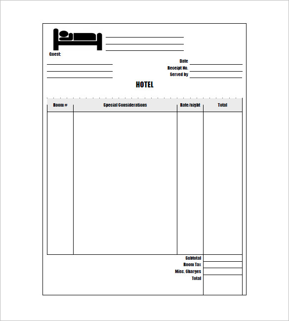 Hotel receipt template template business for Guest house business plan template
