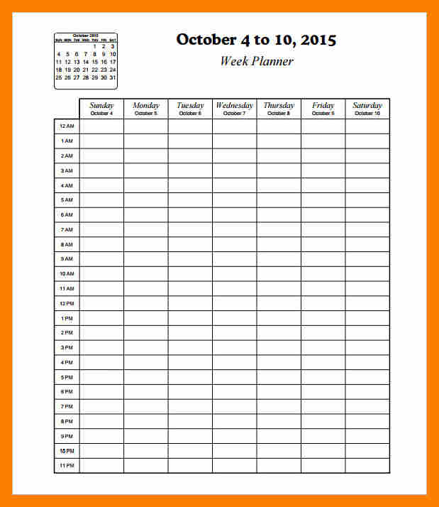 hourly calendar template