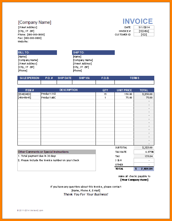 hourly invoice template