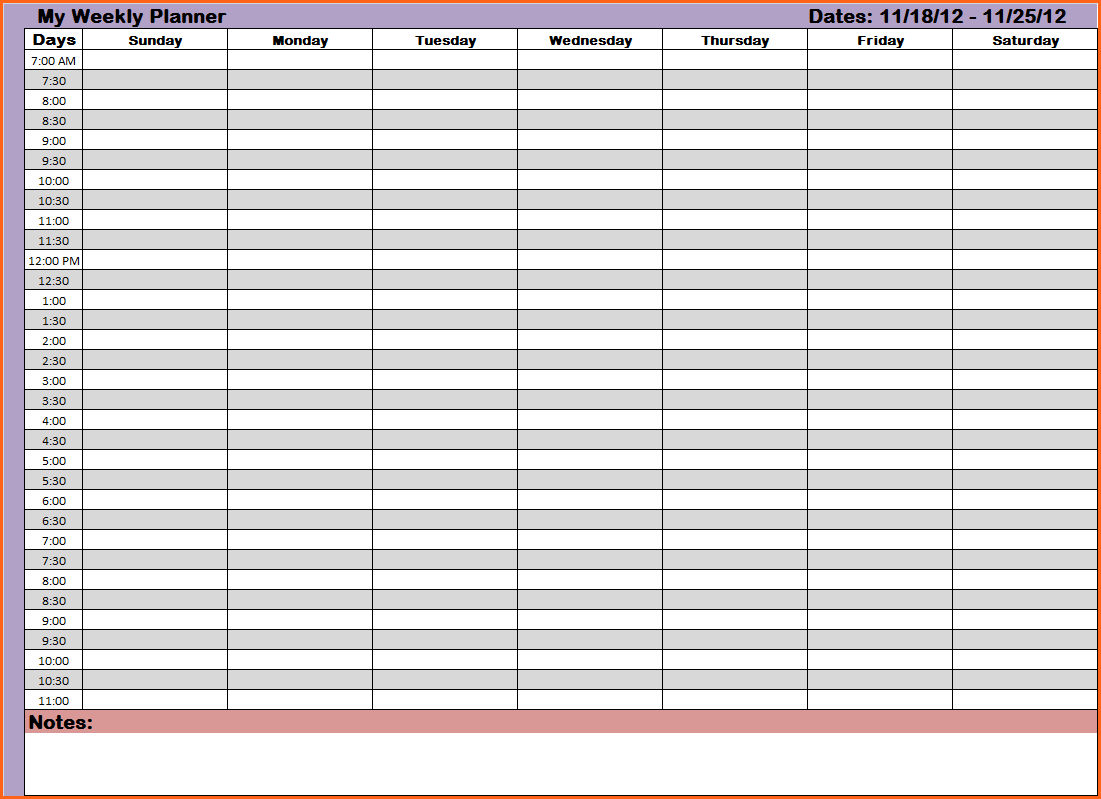 Hourly Planner Template | Template Business