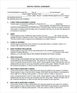 house rental agreement monthly house rental agreement