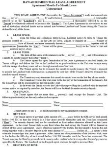 house rental agreement template hawaii