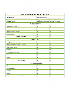 household budget template printable blank household budget form l