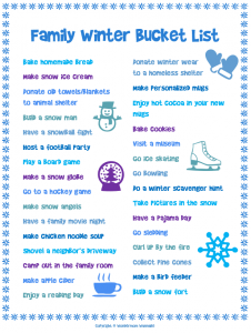 household inventory list family winter bucket list