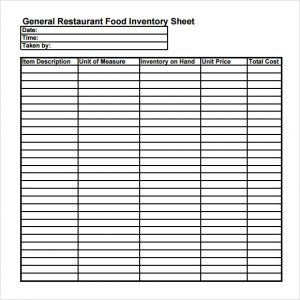household inventory list general restaurant food inventory sheet