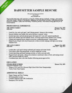 How To Put Babysitting On A Resume Babysitter Sample