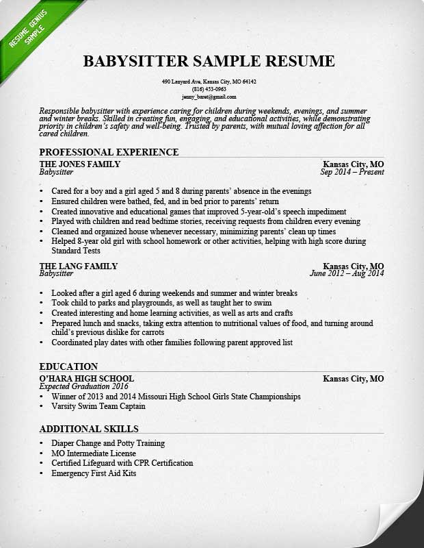 How To Put Babysitting On A Resume Template Business