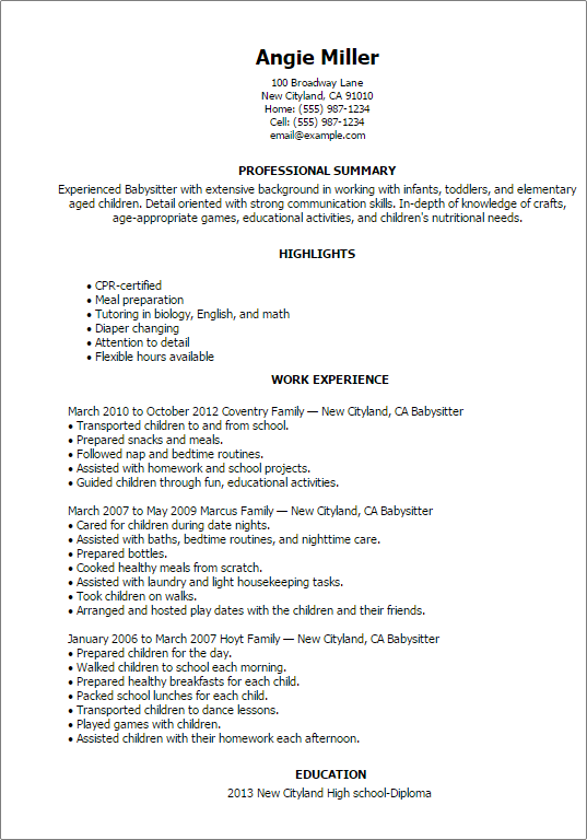 how-to-put-babysitting-on-a-resume-babysitter Job Resume Format For Students on templates for college, examples for high school, examples for college, examples for current college,