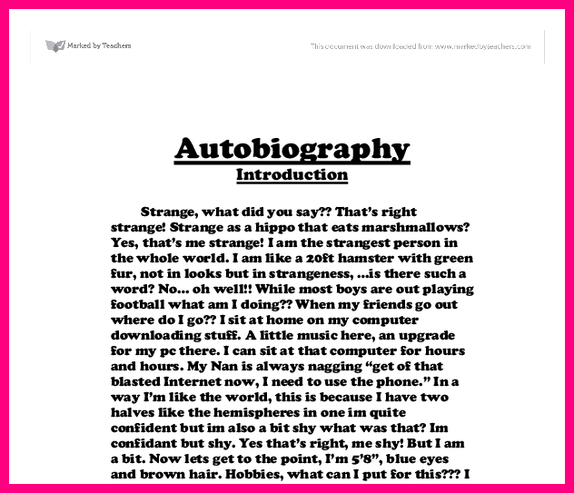 how to write a autobiography