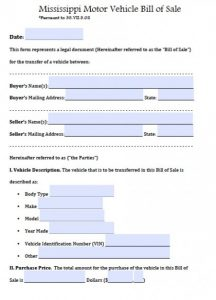 how to write a bill of sale for car mississippi motor vehicle bill of sale x